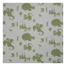 "PaperBoy Interiors ""Ere Be Dragons"" Fabric, Grey and Green"