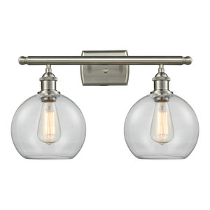 Athens 2-Light Bath Fixture, Clear Globe Glass, Satin Brush Nickel