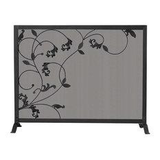 Uniflame 3-Fold Black Screen with Flowing Leaf Design