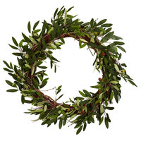 """Nearly Natural 20"""" Olive Wreath Green"""