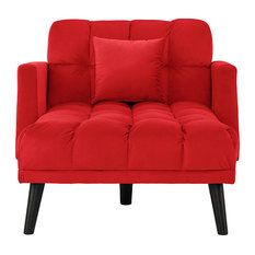 reclining chaise lounge. Sofamania - Velvet Sleeper Chair Chaise Lounge, Reclining Futon Single Seater, Red Indoor Lounge