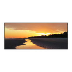 """Yellow Sunset at Low Tide, Photography, 48""""x20"""""""