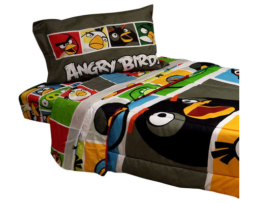 Store51 LLC   Angry Birds Twin Bedding Set 4 Piece Bold Game Comforter  Sheets
