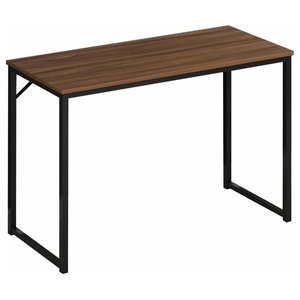 Contemporary Stylish Desk, MDF With Walnut Effect and Steel Frame