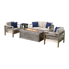 4 Piece Outdoor Aluminum Fire Table Sofa Set