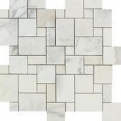 Calacatta Florence Mini Versailles Pattern, Honed Mosaic Tile, 12x12, 16 SqFt