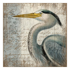 Suzanne Nicoll Blue Heron Distressed Wood Panel Sign