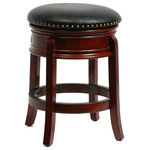 """Boraam - Hamilton Swivel Stool, Cherry, 24"""" - The Hamilton Swivel Bar Stool from Boraam Industries, Inc. boasts a solid hardwood footrest and upholstered cushioned seat. Boasting a 360-degree swivel mechanism, this piece has been designed with your comfort in mind. This stool also features a high-density foam seat cushion upholstered in shiny black bonded leather with 17th Century-inspired brass nailhead trim. Exuding a warm, luxurious feel, thanks to its rich colors and sumptuous textures, this stool from Boraam Industries, Inc. makes a sophisticated addition to any interior space."""