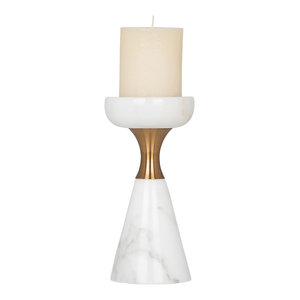 Emily Maxwell Luxury White Marble Candle Holder With Copper Ring, Small