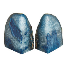 Sagebrook Home Agate Bookends, Blue, Set of 2