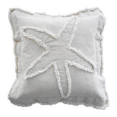 Coastal Starfish Throw Pillow, Ivory on Ivory