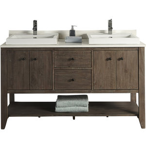 """Fairmont Designs River View 60"""" Double Vanity Coffee Bean Base Cabinet Only"""