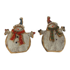 """Craft Outlet - 3""""X 3.75"""" 2 Assorted Wooden Snowman. Product Sold As A Set of 2. - Holiday Accents and Figurines"""