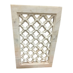 Mogulinterior - Consigned Jali Hand-Carved Architectural Antique Marble Window - Windows