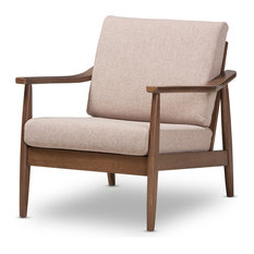 Baxton Studio - Venza Mid-Century Modern Walnut Wood Light Brown Fabric Upholstered Lounge Chair - Armchairs and Accent Chairs