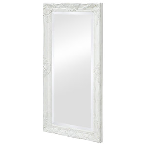 vidaXL Wall Mirror Baroque Style, White, 100x50 cm