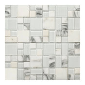 "Lucente Ambrato ON 13""x13"" Glass Mosaic Tile, Set of 10"