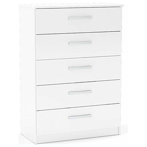 Modern Chest of Drawers With 5 Storage Drawers, White