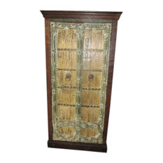Mogul Interior - Consigned Antique Doors Cabinet Shabby Storage Armoire Rustic Handcrafted Chest - Accent Chests And Cabinets