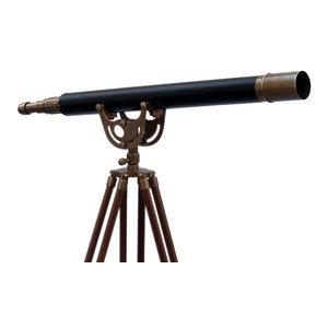 "Floor Standing Antique Brass Leather Anchormaster Telescope 65"""