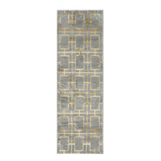 Contemporary Glitzy 2'x6' Runner Gray and Gold Area Rug
