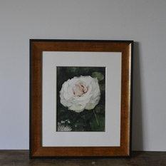 - ガーデンの白いバラ - 絵画
