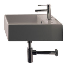 Square White Ceramic Wall Mounted or Vessel Sink, No Hole