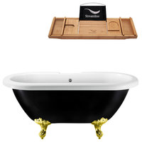 """59"""" Streamline Clawfoot Tub and Tray With External Drain, Tub With Gold Clawfeet"""