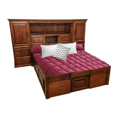 Traditional Supersized Headboard With Raised Panel Back, Queen, Natural Alder