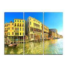 """Yellow Tinged Grand Canal Venice"" Artwork Canvas, 3 Panels, 36""x28"""