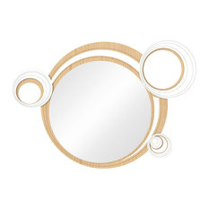 Geometric Circle Natural Wood Wall Mirror, White, 100x70 cm