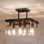 Luxury Modern Farmhouse Ceiling Fixture, Bristol Series, Olde Bronze