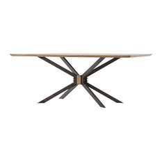 """Industrial Spider Leg Brass Clad Top Dining Table 79"""""""