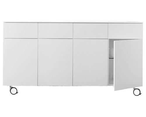 Arctic 40 Sideboard 4D & 4L, Vit/Hjul - Opbevaringsskabe