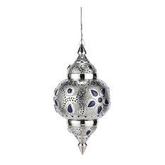 Maisons du monde - Lampada a sospensione blu in metallo cesellato e vetro D 31 cm IRAKLIA - Lampade a sospensione