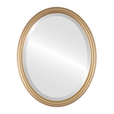 "Saratoga Framed Oval Mirror in Desert Gold, 17""x21"""