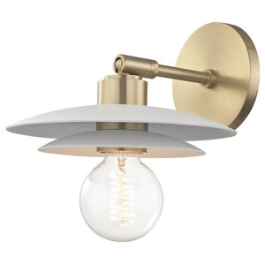 Milla Small Wall Sconce - Aged Brass Finish - White Shade