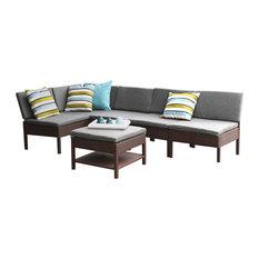 BANER GARDEN 6-Piece Outdoor Patio Wicker Rattan Sofa Couch Set, Brown