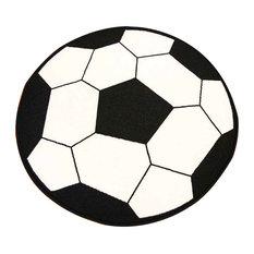 "Round Soccer Anti SkidBacking Area Rug, Soccer, 3'3"" Round"
