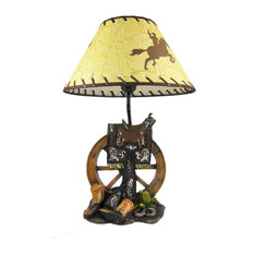 Zeckos   Western Saddle Table Lamp With Cowboy Print Shade   Table Lamps