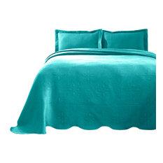 Celtic Circle Cotton Jacquard Matelasse Scalloped Bedspread Set