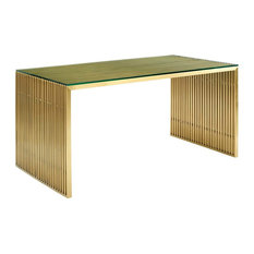 Gridiron Stainless Steel Dining Table, Gold