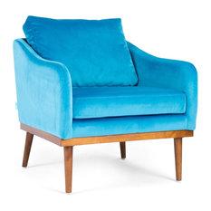 Oscar Peacock Blue Velvet Armchair