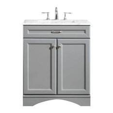Naples Vanity In Grey With Carrara White Marble Countertop 30-inch Without Mirror