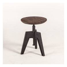 24-inch Set Of 2 Band Saw Stool Adjustable Height Wooden Seat Industrial Metal Base