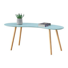 Convenience Concepts Oslo Bean Shaped Coffee Table in Mint Green Wood Finish