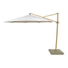 11' Offset Outdoor Umbrella with Natural Pole, White