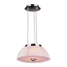Modern Italian Style 5-Light LED Chrome Finish with White Shade Pendant