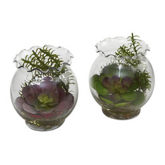 Succulent With Fluted Vases, 2-Piece Set