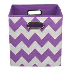 Color Pop Purple Chevron Folding Storage Bin